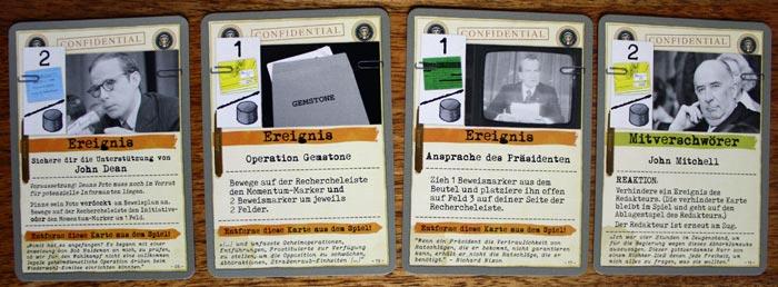 Beispiele für Spielkarten der Nixon-Administration in Watergate.