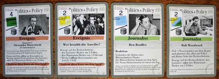 Beispiele für Spielkarten der Reporter in Watergate.