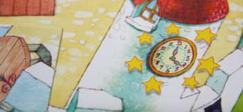 Die Turmuhr wird von Sternen umgeben. Hier kann man zaubern.