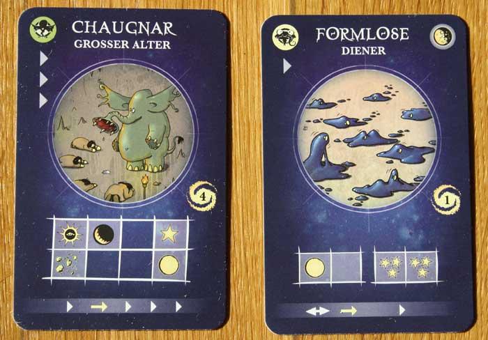 Zwei Wesenskarten des Spiels.