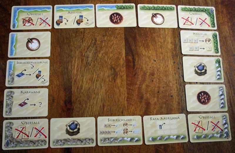 Die Randkarten bilden den Rahmen des Spiels.