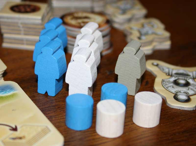 Jeder Spieler darf pro Runde drei Targi einsetzen.